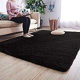 Mengh 160x240cm artificial alfombra alfombra sintética moquetas dormitorio para dormitorio, comedor, pasillo y habitación infantil negro