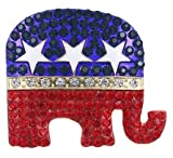 Republican Elephant Trump Red White and Blue Crystal Rhinestones Brooch Pin for Women