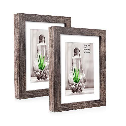Metrekey 2er Set Bilderrahmen 15x20 cm Walnuss Holzmaserung aus MDF für Bildformate 10x15 cm mit Passepartout,Wandhängend oder Freistehen