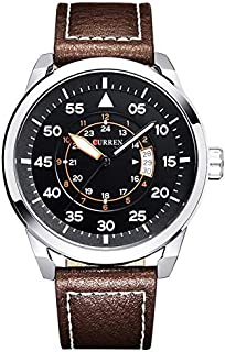 Curren wristwatch operation Casual for Men Analog leather 8210