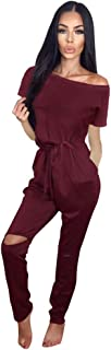 Women's Fashion Off-Shoulder Drawstring Jumpsuits Rompers Knee Hole Pants with Pockets