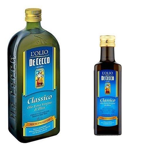 1x De Cecco Classico Natives Olivenöl Extra Olio Extra Vergine 1 Lt nativ + 1x De Cecco Classico Natives Olivenöl 250ml