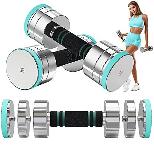 Dripex Hanteln Set Kurzhanteln Set aus Stahl enthalten. 1.75-10kg, Hanteln Verstellbar mit Schaumstoff-Griff für Männer und Frauen, Fitness Hanteln für Zuhause (2 x 5KG)