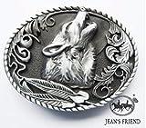 Napolo Cinturon de Hebilla Western Vintage Buckle Hombre Lobo aullido Plata