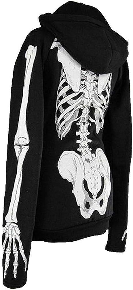 Goth, Skull and steampunk Sweet zippé à Capuche Femme Squelette Noir