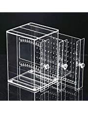 علبة مجوهرات تي كيه صندوق منظم حلق حامل عرض مع حامل حلق أكريليك ثلاثي الدرج، جراب منظم المجوهرات، شفاف مانع للغبار