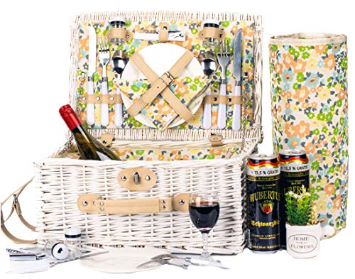 ICEGO Romantic Wicker Picnic Basket for 2 Persons, Special White Washed Willow Hamper Set with Big Insulated Cooler Compartment, Free Blanket and Cutlery Service Kit for Outdoor Party or Camping