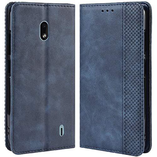 HualuBro Handyhülle für Nokia 2.2 Hülle, Retro Leder Brieftasche Tasche Schutzhülle Handytasche LederHülle Flip Hülle Cover für Nokia 2.2 2019 - Blau