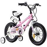 RoyalBaby Kinderfahrrad Jungen Mädchen Freestyle BMX Fahrrad Stützräder Laufrad Kinder Fahrrad 14 Zoll Rosa