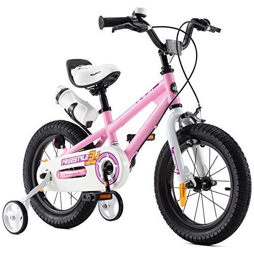 RoyalBaby Kinderfahrrad Jungen Mädchen Freestyle BMX Fahrrad Stützräder Laufrad Kinder Fahrrad 16 Zoll Rosa