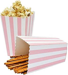بوبكورن بوبكورن بوكسنوز من بيناري اي بي سي، أواني طعام زخرفية بنمط مخطط للحفلات، 1.5 × 5 سم، 24 قطعة، وردي