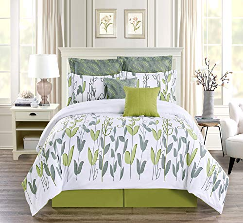 8-Piece King Size Vine Print Luxury Allen Bedding Sage Green/Grey White Comforter Set Bed in a Bag