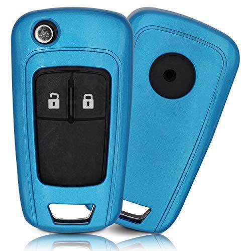 ASARAH ABS Schlüsselhülle für Opel mit edler Lackierung, Schutzhülle für Autoschlüssel Cover für Schlüssel-Typ OP 3BKB - Blau