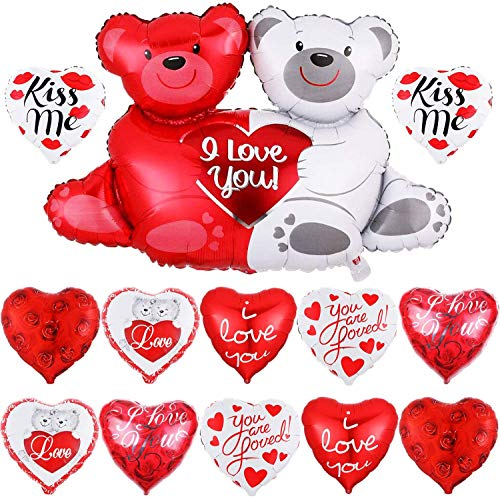 Juego de globos con forma de corazón para el día de San Valentín, 23 globos en forma de corazón, 18 globos para el día de San Valentín, globos de osito de peluche para amor, decoración de San Valentín