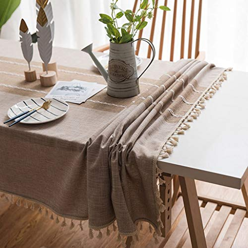 NYKK Tablecloth Tablecloth Waterproof Oilproof Insulation Tablecloth Cotton Linen Plain Tablecloth Coffee Table Rectangular Tablecloth Household Fabric Tablecloth 140180cm Table Cloth