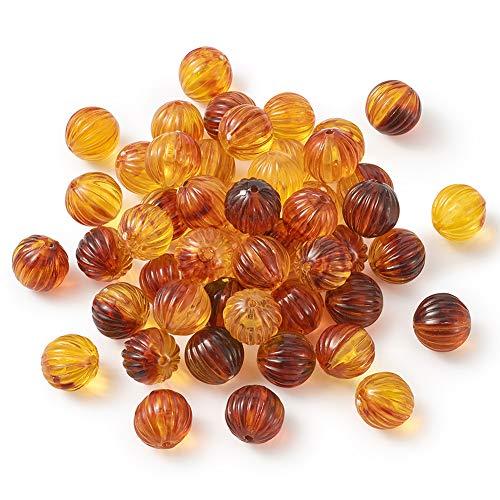 Beadthoven - 50 cuentas de ámbar de acrílico transparente de calabaza de 12 mm, espaciador suelto para hacer joyas de Mala Yoga Halloween, collar, pendientes, pulsera, agujero: 1,5 mm