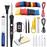 Soldering Iron Kit Ambberdr Welding Tool , 60W Adjustable Temperature Soldering Iron with ON/OFF Switch, Soldering Iron Tips, Stand, Desoldering Pump, Wire Cutter, Solder Wick, Tweezers