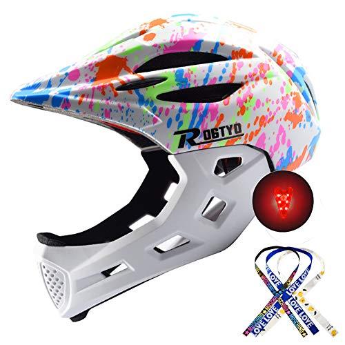 Kid Bike Integralhelm Stoßfest Sportkopfschutz Kinder Sicherheit Reiten Skateboard Inlineskaten Helm 48-57CM MTB BMX Abnehmbares Kinn Mit Warnrücklicht Quaste Zöpfe (Weiß)