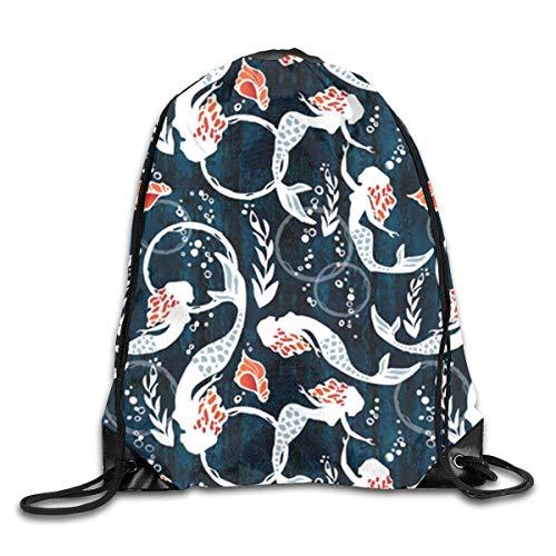 Lsjuee Beautiful Mermaid Drawstring Backpack Bags Adult Sport Gym School Travel String Storage Sackpack