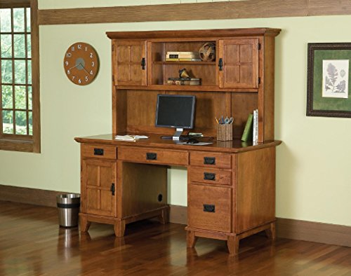 Arts and Crafts Cottage Oak Double Pedestal Desk and Hutch by Home Styles