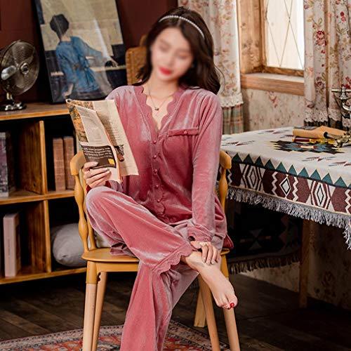LXDWJ Canción Invierno Pijamas Conjunto Suave Terciopelo Casual Suelto Mujer Sexy cálido Encaje Ropa de Dormir más tamaño otoño Ropa de Dormir Femenino (Color : B, Size : XX-Large)