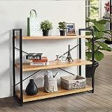 HOMEMAKE FURNITURE Estantería de 3 niveles - Organizador de estantería industrial para sala de estar, cocina, dormitorio, oficina y más - Estantes de exhibición para libros, plantas, imágenes -...