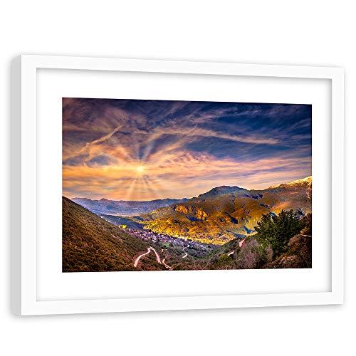 Quadro Cornice bianco XXL Paesaggio Poster Montagne Cielo Sole rosa 120x80 cm