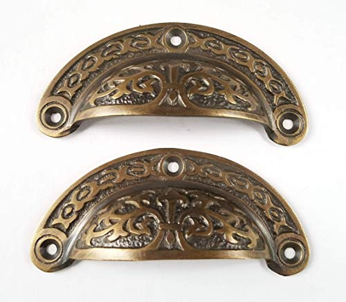 2 Antique Victorian Style Vintage Brass Apothecary bin Pull Handles 3' Centers #A5