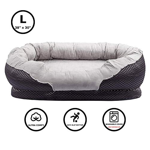Pet Deluxe Dog and Puppy Bed, Grooved Orthopedic Foam Beds with Removable Washable Cover, Ultra Comfort, Padded Rim Cushion, Nonslip Bottom, for Dogs / Puppies