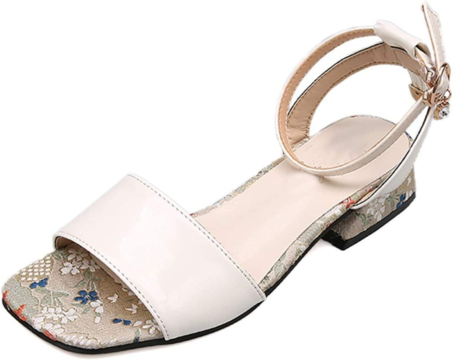 f287fca0688ed Woman Square Toe Slip On Flats Sandals Low Chunky Heel Office Lady ...
