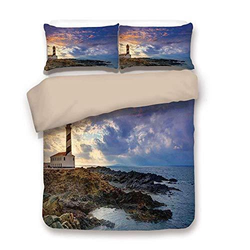 Juego de funda nórdica, decoración del faro, Cap de Favaritx Sunset Lighthouse Cape en Mahón en la costa de las Islas Baleares de España, juego de cama decorativo de 3 piezas con 2 fundas de almohada,