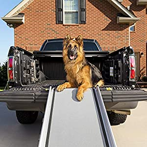 PetSafe Happy Ride Extra Long Telescoping Dog Ramp – Portable Pet Ramp – Great for Cars, Trucks and SUVs – Durable Aluminum Frame Supports up to 300 lb – Side Rails and High Traction Surface Design