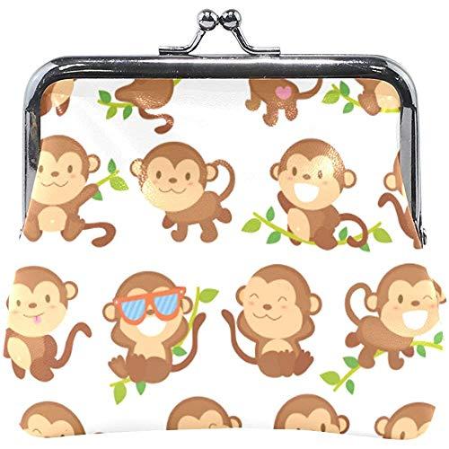 Brieftasche lustige Affen Cartoons Sonnenbrillen Münzgeldbeutel Beutel Leder Wechselhalter Karte Clutch Handtasche