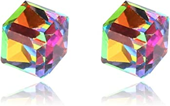 Cicitop 1 Pair Weight Loss Earrings Stud Colored Cube Earrings Healthy Stimulating Acupoints Stud Magnetic Therapy (Colorful)