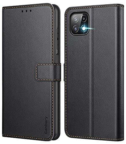 Ganbary Handyhülle für Samsung Galaxy A22 5G Hülle (Nicht für A22 4G), Premium Leder Tasche Flipcase [Kartenschlitzen] [Magnetverschluss] [Standfunktion] kompatibel mit Samsung A22 5G, Schwarz
