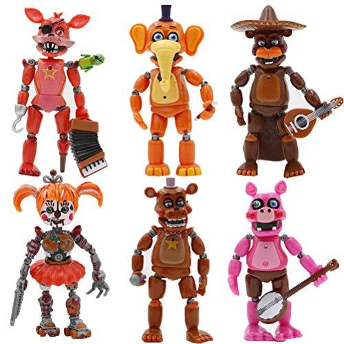 Tangshi Bonecos de Five Nights at Freddy's, 6 peças de bonecos, articulações móveis iluminadas, bonecas para decoração de topos de bolo, ornamentos de carro para casa