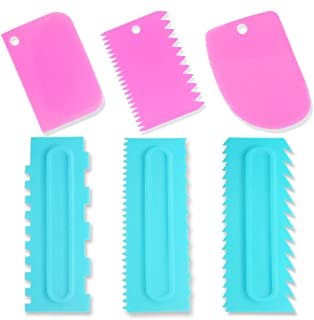 IHUIXINHE Plastic Sawtooth Cake Scraper Set, Dough Scraper Bowl Scraper Cake Scraper Decorating Comb and Icing Smoother, M...