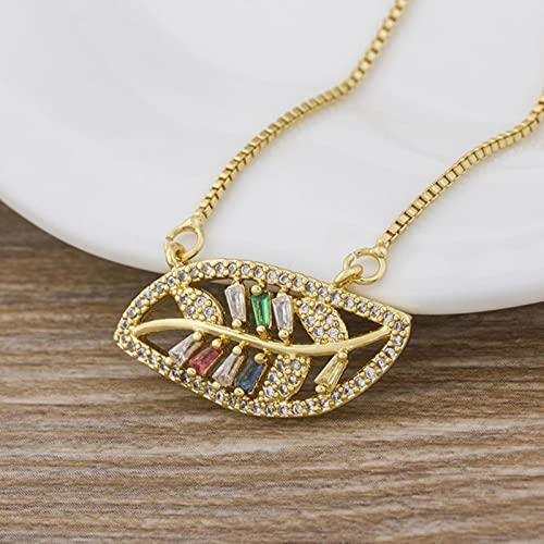 SONGK Collar de arcoíris a la Moda, Colgantes Multicolores, joyería de Color Dorado, Collar de Cadena Larga para Mujeres, Fiesta de cumpleaños