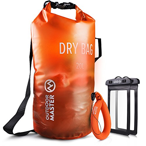 OutdoorMaster Dry Bag -Waterproof Bag Compression Sack with 2 Cell Phone Cases -Kayak Accessories Waterproof Backpack for The Beach, Boating, Fishing, Kayaking, Swimming, Rafting (Orange, 20L)