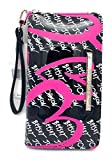 Betsey Johnson Women's Wristlet Wallet, Black/Multi, 8 X 4.5 in