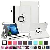 NAUC TrekStor Surftab Breeze 10.1 Quad 3G Tablet Hülle Tasche Schutzcase Cover 360° Drehbar Hülle, Farben:Weiss