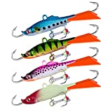 Goture Ice Fishing Jig Luminous Ice Fishing Lures Baits for Winter Ice Fishing for Walleye, Pike, Trout, Bass, Perch(4PCS)