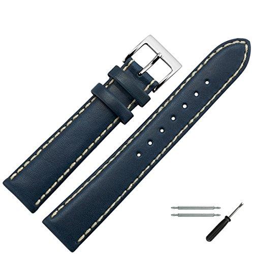 Uhrenarmband 22mm Leder blau - echtes Rindsleder, mit heller Naht - inkl. Federstege & Werkzeug - Ersatzarmband für sportliche Uhren...