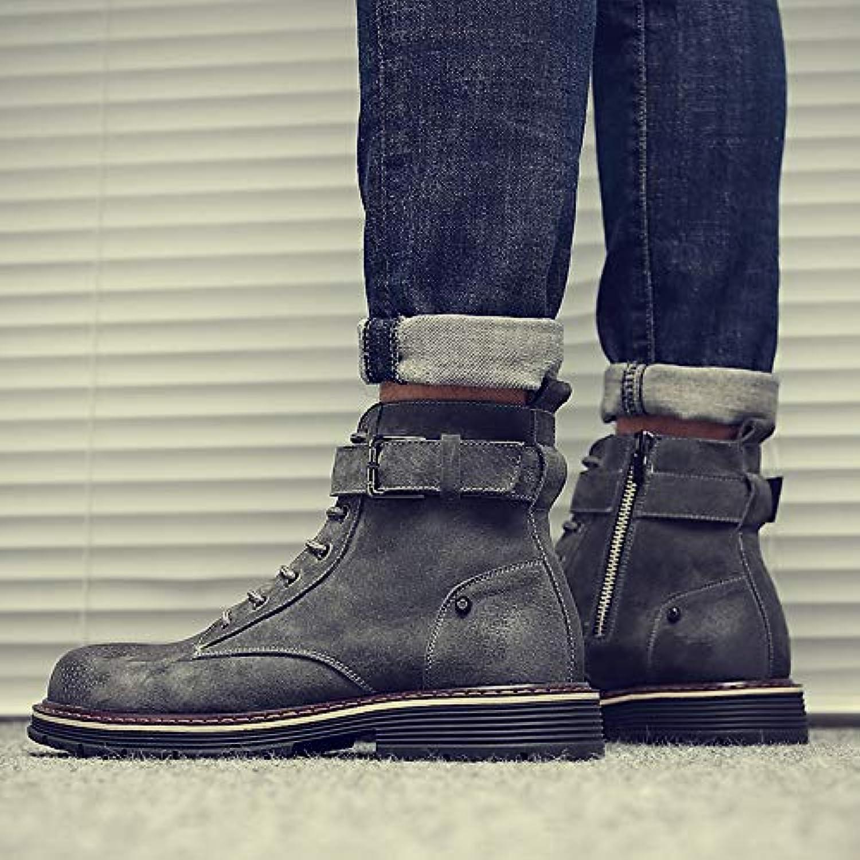 LOVDRAM Boots Men's Martin Boots Men'S Retro Matte Pu Boots High Help Men'S shoes