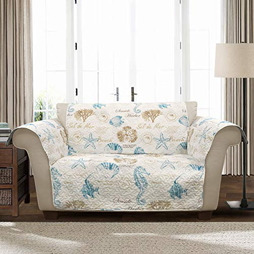 Lush Decor Harbor Life Love Seat Blue&Taupe Furniture Protector Loveseat, Blue/Taupe