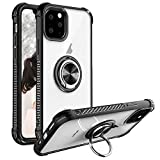 iPhone 11 Case 6.1 inch 2019, Clear Crystal Body Anti-Scratch Shockproof Case with 360 Degree Rotation Ring Kickstand(Work with Magnetic Car Mount) for Apple iPhone 11