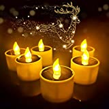 HisoKite 6Pcs Solar Tea Lights Candles Outdoor Lanterns Waterproof Battery Lamp Flameless Flickering Sensor Solar-Powered LED Candle Rechargeable Votive Tealights for Valentine's Day, Solar Tealight