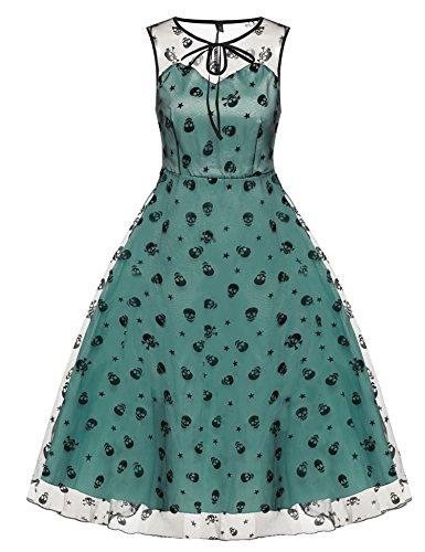 CRAVOG Damen Vintage Rockabilly Partykleid Cocktailkleid Gitter Abendkleid Knielang Kleid