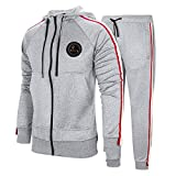 MANTORS Men's Hooded Athletic Tracksuit Full Zip Casual Jogging Gym Sweat Suits Gray-M