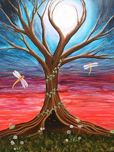 Pintura de diamante paisaje árbol pintura de diamante cuadro de paisaje mosaico de diamantes de imitación flor pintura decorativa A6 30x40cm
